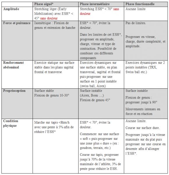 Voici un exemple de protocole de rééducation adapté du guide du traitement des blessures musculosquelettiques du FC Barcelone: