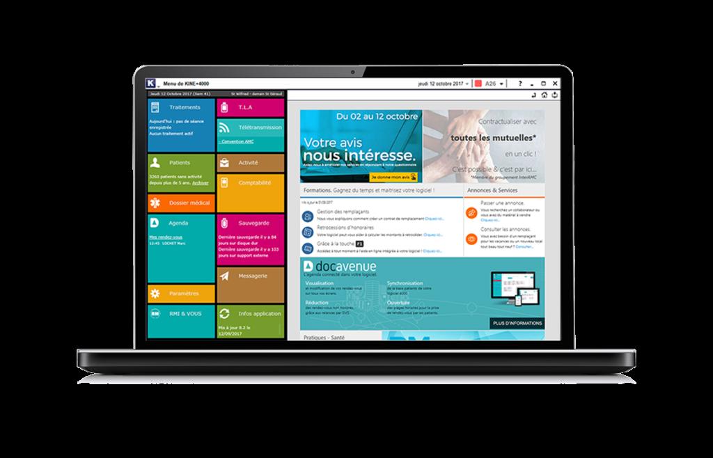 écran d'ordinateur, menu profession kinésithérapeute