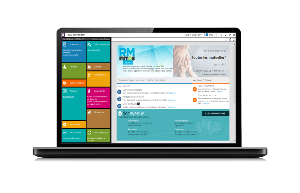 écran d'ordinateur, menu profession orthoptiste