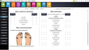 interface dossier médical podologue, module examen clinique