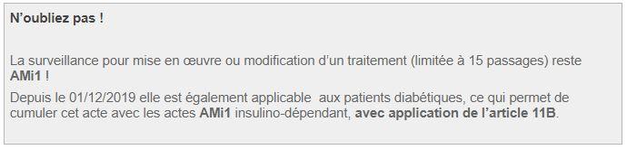 La surveillance pour mise en œuvre ou modification d'un traitement (limitée à 15 passages) reste AMi1 !